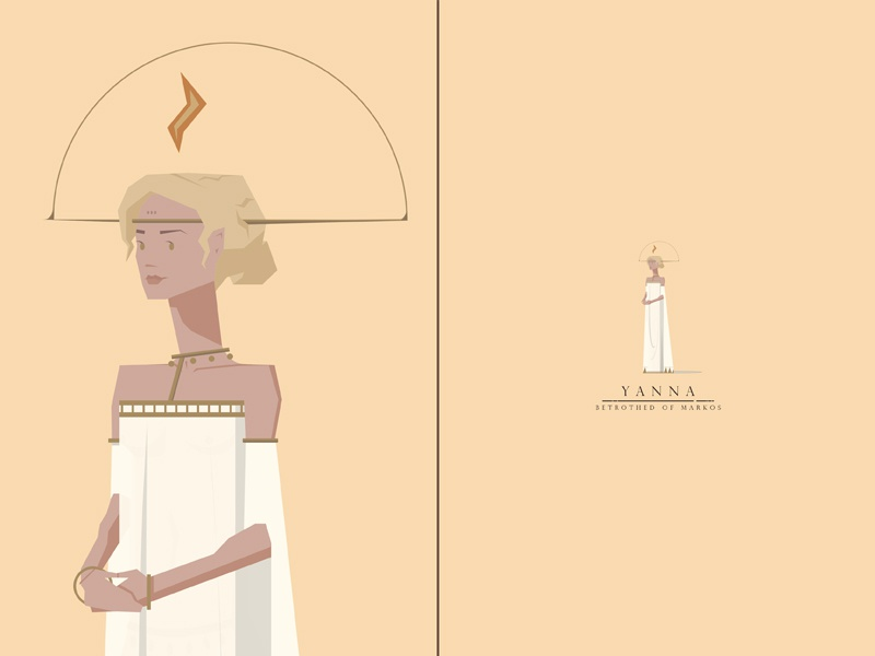 Yanna, Betrothed of Markos feminine woman maiden swordandsandal princess characterdesign
