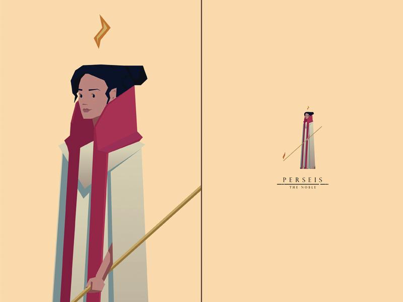 Perseis, the Noble swordandsandal woman priestess characterdesign