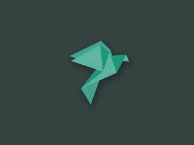 Pigeon pigeon paper origami green logo