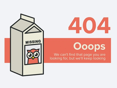 wwwhere.io 404 milk carton orange owl 404