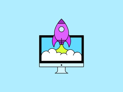 3... 2... 1... Blastoff! imac flat illustration computer blastoff rocket