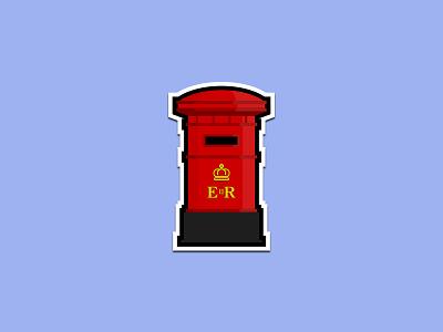 British Post Box rebound sticker mail royal united kingdom post box pillar box