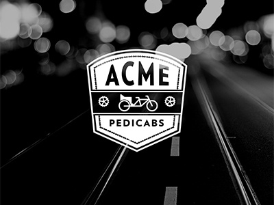 Acme Pedicabs logo pedicab bicycle chain crank badge identity