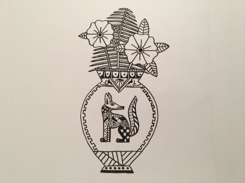Tattoo flash inspired dog vase skull eye fern pattern geometry flower wood carving oaxacan flash tattoo vase dog