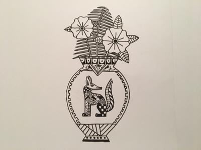 Tattoo flash inspired dog vase