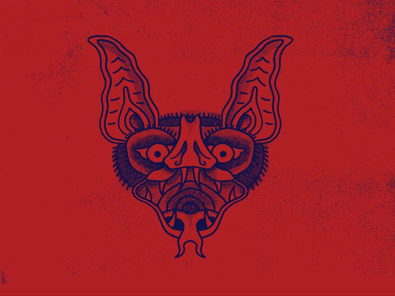 BAT HEAD dracula animal creepy halloween traditional tattoo tattoo flash tattoo bat