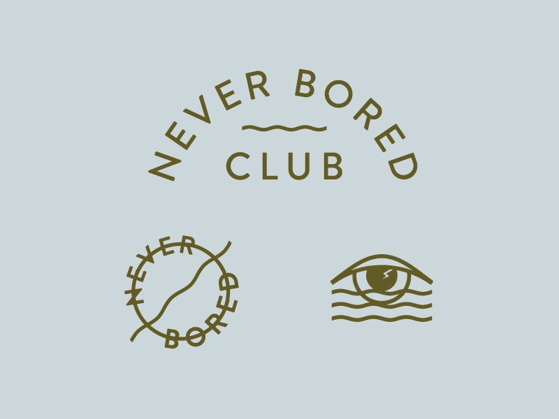 Never Bored Club branding team club bored wave eye identity logo badge