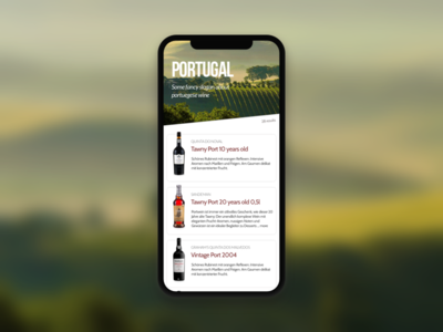 Wine selection tableview