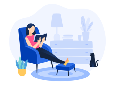 Reading girl cozy plant cat illustration freebies comfort home reading rest