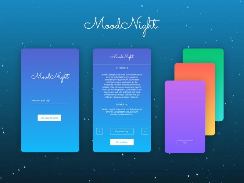 Mood Night redux ui css animation react native app figma