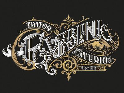 Eyeblink Tattoo Studio brand custom morawski bydgoszcz craft design logo handlettering tattoo typografia typography
