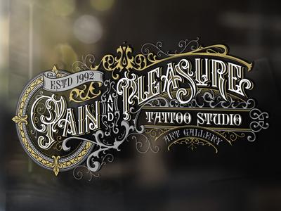 Pain And Pleasure Tattoo Studio illustration morawski tattoo lettering custom logo design typography handlettering