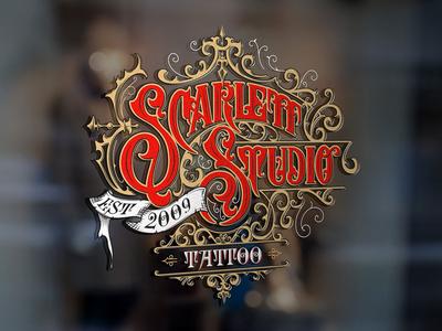 Scarlett Studio Tattoo - handlettered logo craft graphic design vintage lettering logo tattoo ornaments typography handlettering