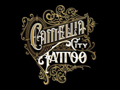 Camellia Tattoo - handlettered logo vintage typography tattoo ornaments logo lettering handlettering graphic design craft