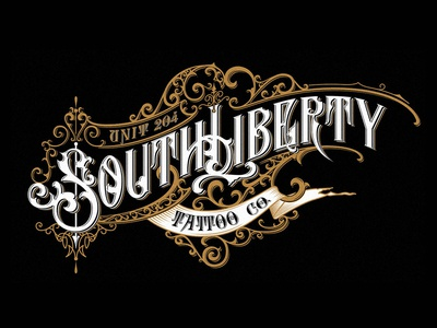 South Liberty Tattoo vintage typography tattoo ornaments logo lettering handlettering graphic design craft