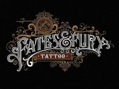 Fates and Fury Tattoo tattoo vintage typography ornaments logo lettering handlettering graphic design craft