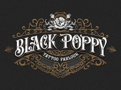 Black Poppy Tattoo Parlour tattoo vintage typography ornaments logo lettering handlettering graphic design craft