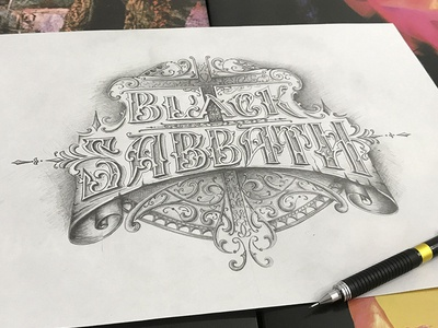 black sabbath fan art vintage typography tattoo ornaments logo lettering handlettering black sabbath graphic design craft