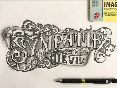 sympathy for the devil vintage typography tattoo ornaments logo lettering handlettering devil rolling stones graphic design craft