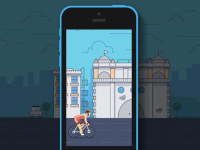 Cycle Safe App cycle safe city biker bike dribbble behance presentation app ios loading screen splash screen