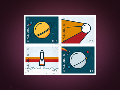 Space stamps icons planet rocket space