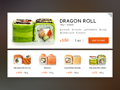 Roll card ux ui e-commerce sushi