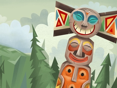 totems wip illustration totems northwest stacking