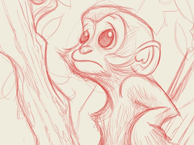 littlest leaf monkey illustration monkeys monkey drawing red pencils