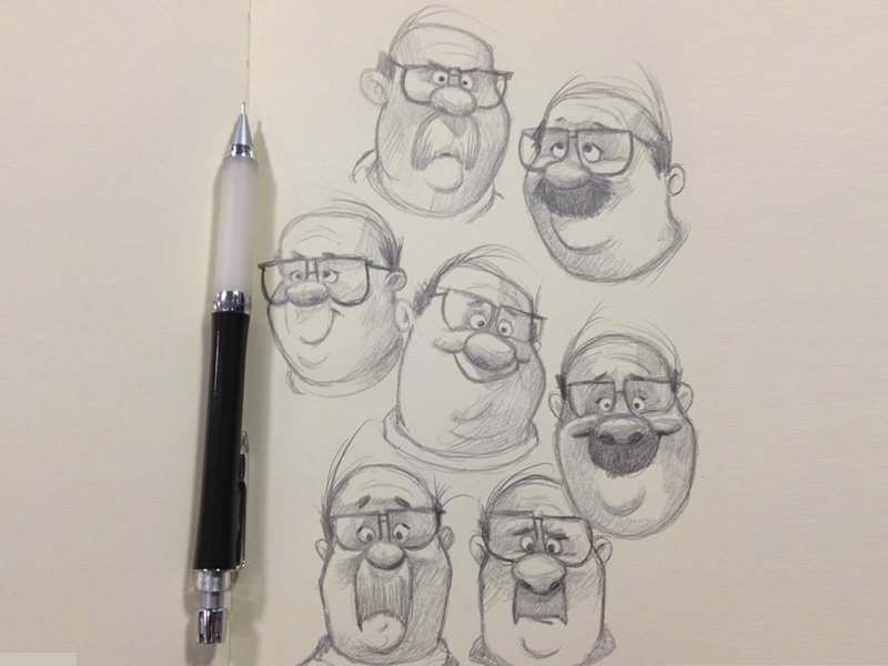 Stache/Combover illustration character design character development