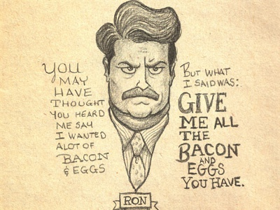 Ron S. ron swanson illustration pencil drawing parks  recreation