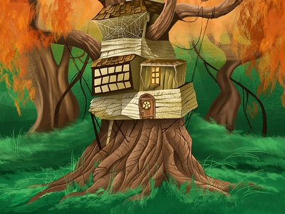 Stumpy house illustration tree house tree fall digital