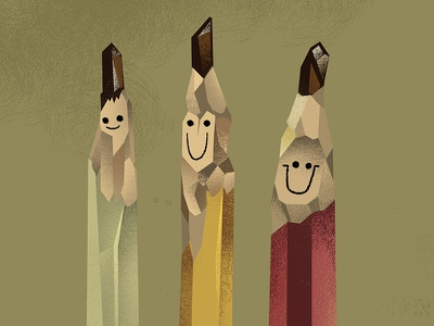 handcarved  illustration pencils lead sharpened