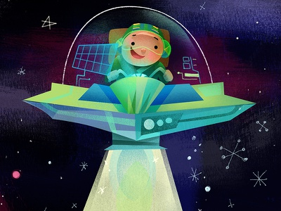 SPACESHIP illustration childrens story space spaceman