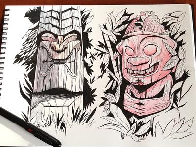 Tikis illustration brush pen ink tikis tiki drawing royal hawaiian
