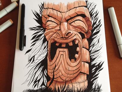 Tiki illustration brush pen ink tikis tiki drawing copic copic markers