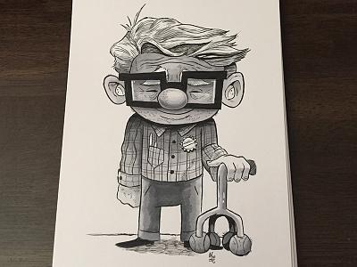 Little Carl  illustration inktober brushpen copicmarkers ink drawing up pixar