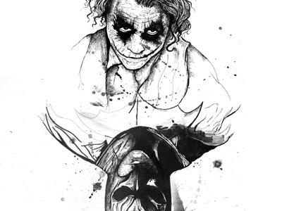 Playing the Joker Card WIP dark knight batman joker illustration comics ink drawing inks