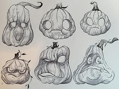 Happy Halloween! illustrations pumpkins brushpen ballpoint ink