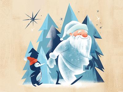 Santa Set illustration card illustration gift card