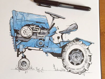 Old Blue ink tractors ink drawing copic marker brush pen
