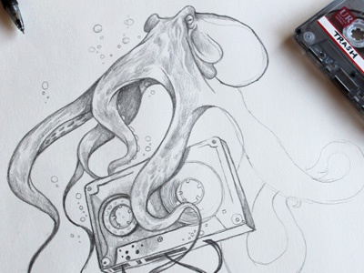 old mixes never die illustration pencil drawing graphite mixtape octopus