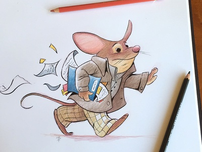 please hold that elevator... childrens book illustration character childrens book mouse illustration
