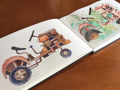 Tractor wash sketchpad gouache watercolor