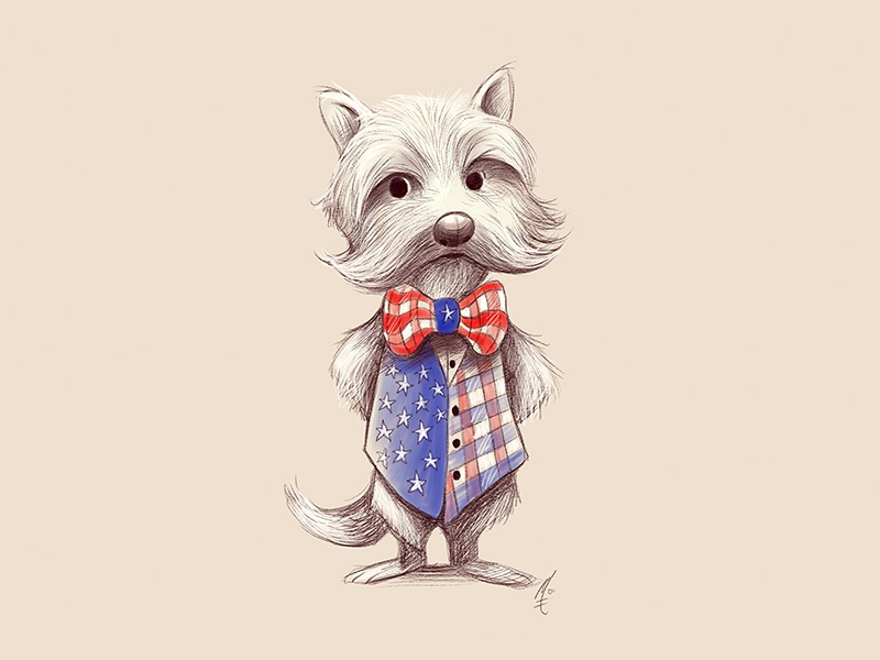Happy Fourth! character design pup fourth vest illustration