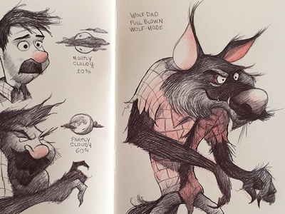 Wolf Dad sketchbook wolfman inktober illustration