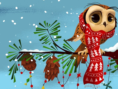 The Scarfed Owl pine cones christmas pine tree owl