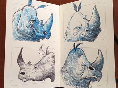 Crash crash sketchbook rhinos ballpoint
