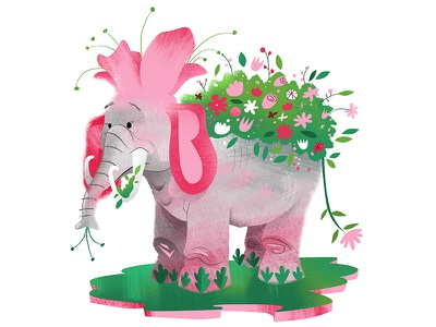 EleFlower pink flowers elephant