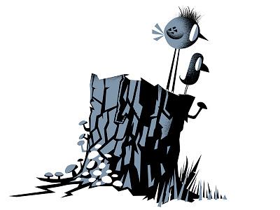 Blackbird stump stump birds illustration