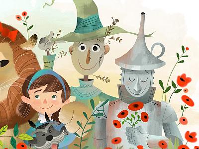 Oz dorothy scarecrow tinman oz childrens book illustration